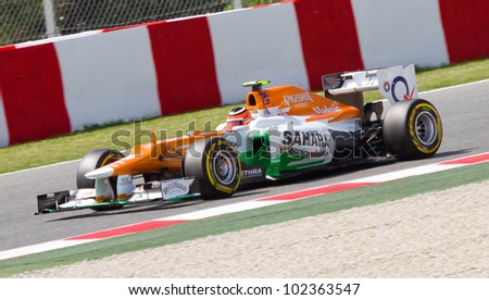 BARCELONA - MAY 12: Nico Hulkenberg of Force India F1 team racing at Qualifying Session of Formula One Spanish Grand Prix at Catalunya circuit, on May 12, 2012 in Barcelona, Spain.