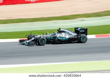 BARCELONA - MAY 13: Nico Rosberg drives the Mercedes AMG Petronas F1 Team car on track for the Spanish Formula One Grand Prix at Circuit de Catalunya on May 13, 2016 in Barcelona, Spain. - stock photo