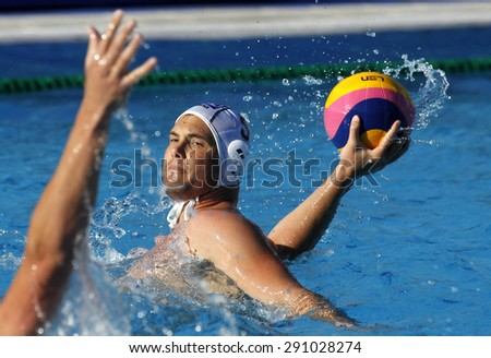 BARCELONA - MAY, 28: Norbert Hosnyanszky of ZF Eger during a LEN Champions League Final Six match against Jug Dubrovnik at the Picornell Swimming pool on May 28 2015 in Barcelona Spain - stock photo