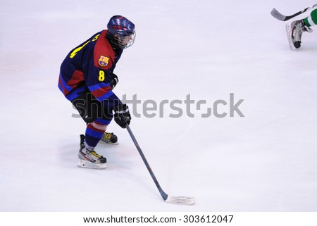 BARCELONA - MAY 11: Players in action in the Ice Hockey final of the Copa del Rey (Spanish Cup) between F.C. Barcelona and Jabac Terrassa teams on May 11, 2014 in Barcelona, Spain.