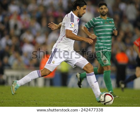BARCELONA - MAY,11: Sami Khedira of Real Madrid during the Spanish Kings Cup match against UE Cornella at the Estadi Cornella on October 29, 2014 in Barcelona, Spain - stock photo