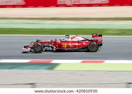 BARCELONA - MAY 13: Sebastian Vettel drives the Scuderia Ferrari car on track for the Spanish Formula One Grand Prix at Circuit de Catalunya on May 13, 2016 in Barcelona, Spain.