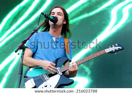BARCELONA - MAY 23: Tame Impala, psychedelic rock band project of Kevin Parker, performs at Heineken Primavera Sound 2013 Festival on May 23, 2013 in Barcelona, Spain. - stock photo