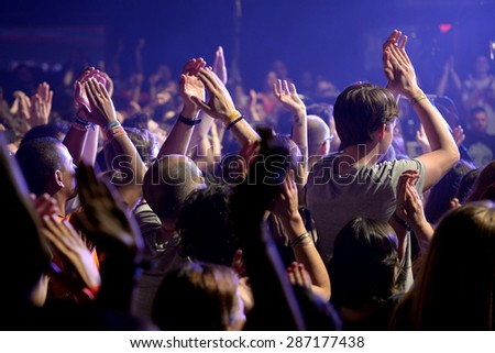 BARCELONA - MAY 28: The audience applauding at Primavera Sound 2015 Festival, Apolo stage, on May 28, 2015 in Barcelona, Spain.