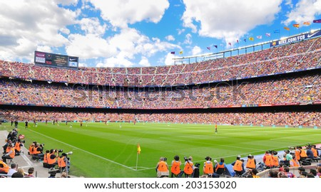 BARCELONA - MAY 03: The Camp Nou football stadium, home ground to Barcelona Football Club FC, which is the 3rd largest football stadium in the world on May 3, 2014 in Barcelona, Spain.  - stock photo
