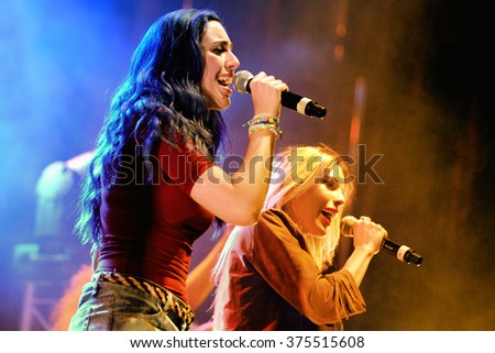 BARCELONA - MAY 23: The female singers of Sweet California (girl band) at Primavera Pop Festival by Los 40 Principales on May 23, 2014 in Barcelona, Spain. - stock photo