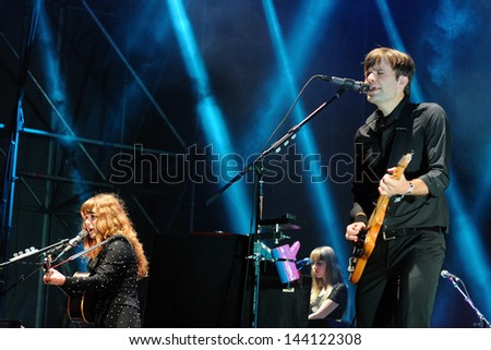 BARCELONA - MAY 23: The Postal Service, American electronic musical group, performs at Heineken Primavera Sound 2013 Festival, Main Stage, on May 23, 2013 in Barcelona, Spain.