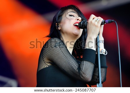 BARCELONA - MAY 29: The singer of Dum Dum Girls (American rock band from Los Angeles) in concert at Heineken Primavera Sound 2014 Festival (PS14) on May 29, 2014 in Barcelona, Spain.