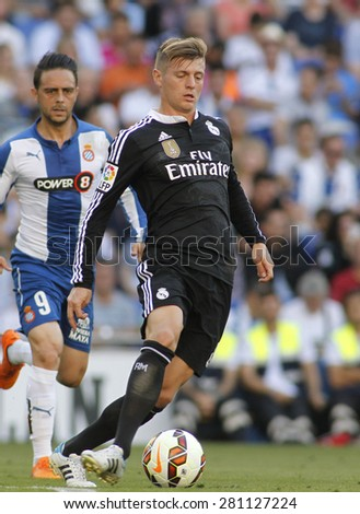 BARCELONA - MAY, 17: Toni Kroos of Real Madrid during a Spanish League match against RCD Espanyol at the Power8 stadium on Maig 17 2015 in Barcelona Spain - stock photo