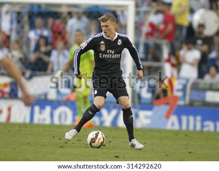 BARCELONA - MAY, 2015: Toni Kroos of Real Madrid during a Spanish League match against RCD Espanyol at the Power8 stadium on Maig 17 2015 in Barcelona Spain - stock photo