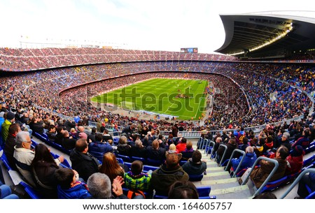 BARCELONA - NOV 23: A general view of the Camp Nou Stadium in the football match between Futbol Club Barcelona and Granada of the Spanish League on November 23, 2013 in Barcelona, Spain.