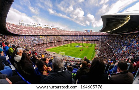 BARCELONA - NOV 23: A general view of the Camp Nou Stadium in the football match between Futbol Club Barcelona and Granada of the Spanish League on November 23, 2013 in Barcelona, Spain. - stock photo