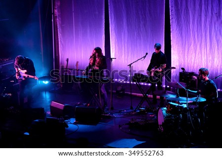 BARCELONA - NOV 20: Beach House (dream pop band from Baltimore) in concert at Apolo stage on November 20, 2015 in Barcelona, Spain.