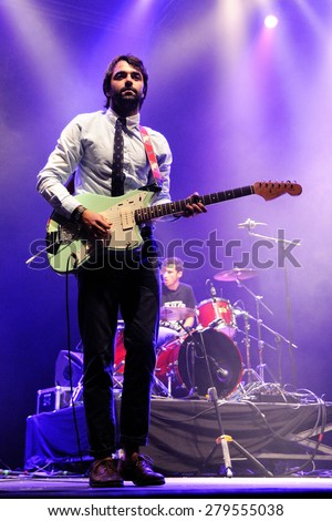 BARCELONA - NOV 12: Chinese Christmas Cards (band) performs at Sant Jordi Club on November 12, 2010 in Barcelona, Spain. - stock photo