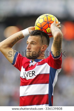 BARCELONA - NOV, 1: Cristiano Biraghi of Granada CF serving a Throw-in during a Spanish League match against RCD Espanyol at the Power8 stadium on November 1 2015 in Barcelona Spain - stock photo