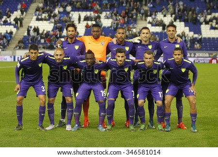 BARCELONA - NOV, 21: Malaga CF lineup posing before a Spanish League match against RCD Espanyol at the Power8 stadium on November 21 2015 in Barcelona Spain - stock photo