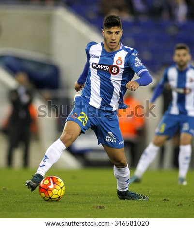 BARCELONA - NOV, 21: Marco Asensio of RCD Espanyol during a Spanish League match against Malaga CF at the Power8 stadium on November 21 2015 in Barcelona Spain - stock photo