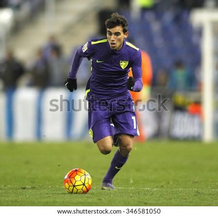 BARCELONA - NOV, 21: Ricardo Horta of Malaga CF during a Spanish League match against RCD Espanyol at the Power8 stadium on November 21 2015 in Barcelona Spain - stock photo