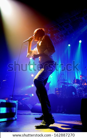 BARCELONA - NOV 5: Suede (Britpop band) performs at Razzmatazz stage on November 5, 2013 in Barcelona, Spain. Brett Anderson is the lead vocalist and the legendary frontman of the band. - stock photo