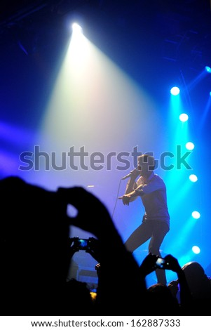 BARCELONA - NOV 5: Suede (Britpop band) performs at Razzmatazz stage on November 5, 2013 in Barcelona, Spain. Brett Anderson is the lead vocalist and the legendary frontman of the band.