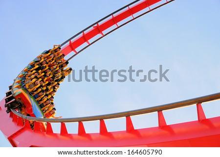 BARCELONA - NOV 1: The Dragon Khan, a famous roller coaster of the Port Aventura theme park on November 1, 2013 in Barcelona, Spain. - stock photo