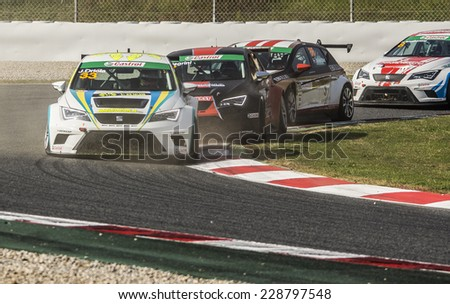 BARCELONA - NOVEMBER 2: Drivers fighting for the position at International GT Open at Catalunya Circuit on November 2, 2014 in Barcelona, Spain.  - stock photo