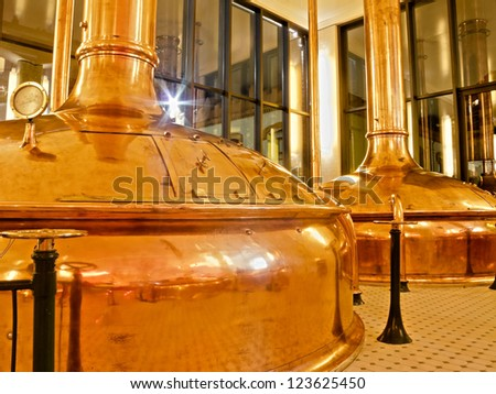 BARCELONA - NOVEMBER 29: Former brewery on November 29, 2012 in Barcelona. Damm brewery was founded in 1876, one of the oldest in Spain. - stock photo