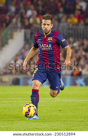 BARCELONA - NOVEMBER 1: Jordi Alba of FCB in action at Spanish League match between FC Barcelona and Celta de Vigo, final score 0-1, on November 1, 2014, in Camp Nou stadium, Barcelona, Spain. - stock photo