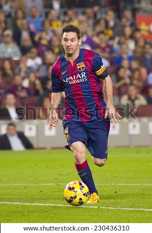 BARCELONA - NOVEMBER 1: Lionel Messi of FCB in action at Spanish League match between FC Barcelona and Celta de Vigo, final score 0-1, on November 1, 2014, in Camp Nou stadium, Barcelona, Spain. - stock photo