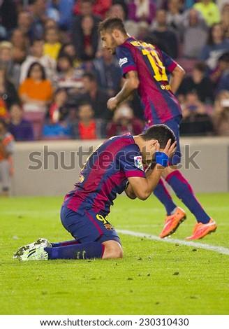 BARCELONA - NOVEMBER 1: Luis Suarez of FCB at Spanish League match between FC Barcelona and Celta de Vigo, final score 0-1, on November 1, 2014, in Camp Nou stadium, Barcelona, Spain. - stock photo