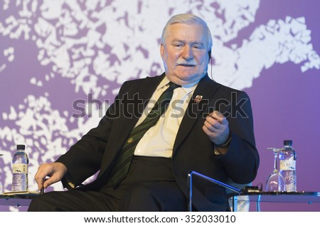 BARCELONA - NOVEMBER 14: Nobel Peace Prize in 1983 Lech Walesa speaking at the 15th World Summit of Nobel Peace Laureates on November 14, 2015, Barcelona, Spain. - stock photo
