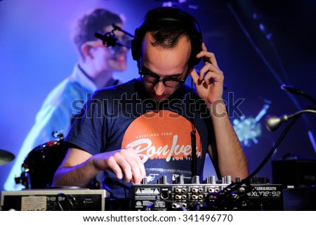 BARCELONA - OCT 27: A DJ performs at Music City Hall on October 27, 2011 in Barcelona, Spain.