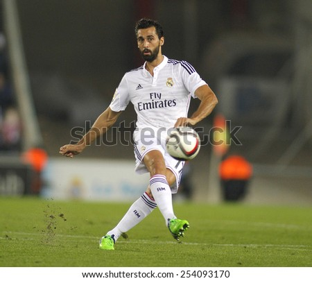 BARCELONA - OCT, 29: Alvaro Arbeloa of Real Madrid during the Spanish League match between Espanyol and Real Madrid at the Estadi Cornella on October 29, 2014 in Barcelona, Spain - stock photo