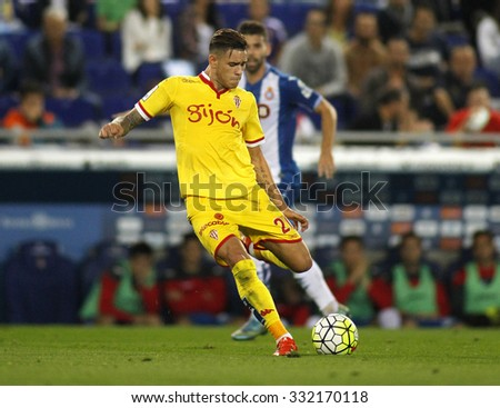 BARCELONA - OCT, 3: Antonio Sanabria of Sporting Gijon during a Spanish League match against RCD Espanyol at the Power8 stadium on October 3 2015 in Barcelona Spain - stock photo