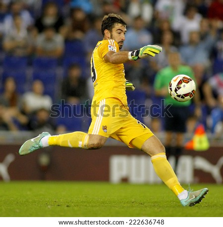 BARCELONA - OCT, 5: Enaut Zubikarai of Real Sociedad in action during a Spanish League match against RCD Espanyol at the Estadi Cornella on October 5, 2014 in Barcelona, Spain - stock photo