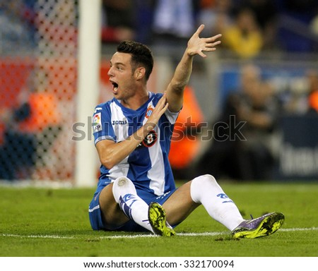 BARCELONA - OCT, 3: Jorge Burgui of RCD Espanyol during a Spanish League match against Sporting Gijon at the Power8 stadium on October 3 2015 in Barcelona Spain - stock photo