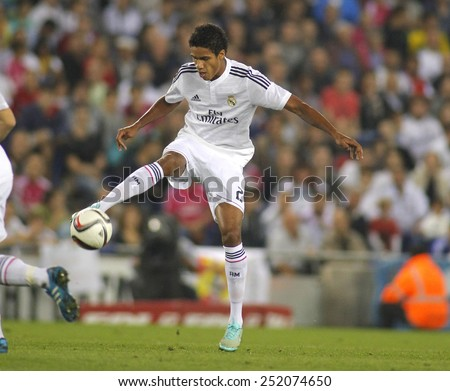BARCELONA - OCT, 29: Raphael Varane of Real Madrid during the Spanish League match between Espanyol and Real Madrid at the Estadi Cornella on October 29, 2014 in Barcelona, Spain - stock photo