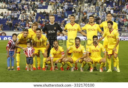 BARCELONA - OCT, 3: Sporting Gijon lineup before a Spanish League match against RCD Espanyol at the Power8 stadium on October 3 2015 in Barcelona Spain - stock photo