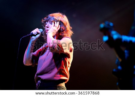 BARCELONA - OCT 20: The singer of Celebration (psychedelic soul band) performs at Razzmatazz stage on October 20, 2014 in Barcelona, Spain. - stock photo