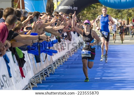 BARCELONA - OCTOBER 5: Anna Godoy wins Garmin Barcelona Triathlon for women, on October 5, 2014, in Barcelona, Spain. - stock photo