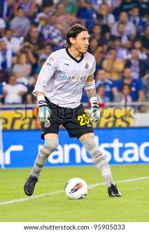 BARCELONA - OCTOBER 2: Cristian Alvarez of Espanyol during the Spanish League match between RCD Espanyol and Real Madrid, final score 0 - 4, on October 2, 2011 in Cornella stadium, Barcelona, Spain.