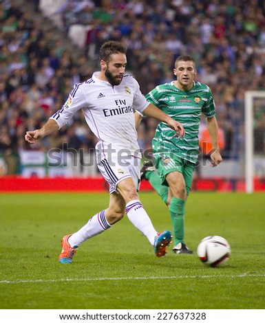 BARCELONA - OCTOBER 29: Dani Carvajal of RM in action at the Copa del Rey match between UE Cornella and Real Madrid, final score 1 - 4, on October 29, 2014, in Cornella, Barcelona, Spain. - stock photo