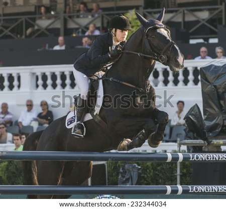 BARCELONA - OCTOBER 09: Edwina Tops-Alexander rider in action during the Furusiyya Jumping First Competition in Real Club Polo Barcelona, on October 09, 2014, Barcelona, Spain.