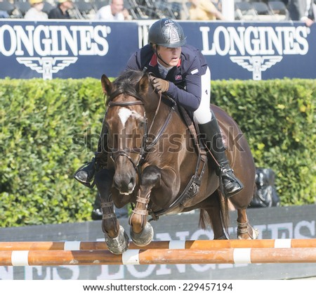 BARCELONA - OCTOBER 09: Jamie Kermond rider in action during the CSIO Coca-Cola Trophy in Real Club Polo Barcelona, on October 09, 2014, Barcelona, Spain.  - stock photo