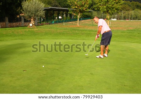 BARCELONA - OCTOBER 12: Jeronimo Jimenez, a Spanish professional golf player, in action during an exhibition on October 12, 2009 in Gualba golf course, Barcelona, Spain.