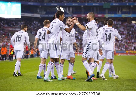 BARCELONA - OCTOBER 29: Real Madrid players celebrating a goal at the Copa del Rey match between UE Cornella and Real Madrid, final score 1 - 4, on October 29, 2014, in Cornella, Barcelona, Spain. - stock photo
