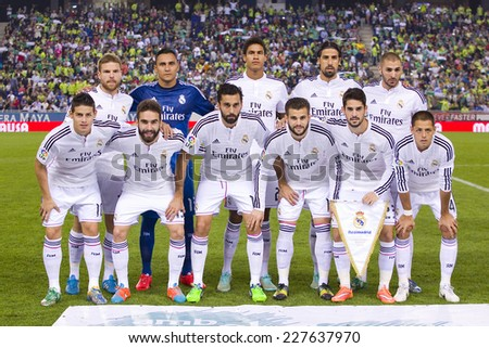 BARCELONA - OCTOBER 29: Real Madrid players posing for photos before the Copa del Rey match between UE Cornella and Real Madrid, final score 1 - 4, on October 29, 2014, in Cornella, Barcelona, Spain. - stock photo