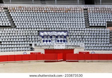 BARCELONA - 09: Plaza de Toros Monumental de Barcelona Bullfighting arena on March 09.2014 in Barcelona, Spain. - stock photo