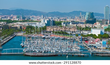 Barcelona port view from the air. Luxurious port in Barcelona, Spain. - stock photo