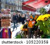 Barcelona Ramblas street life from flowers market - stock photo